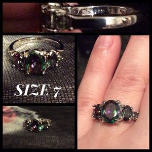 Jewelry - Ladies Mystic Topaz & Silver Ring SZ 7 NEW!